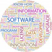 SOFTWARE. Illustration with different association terms in white background.