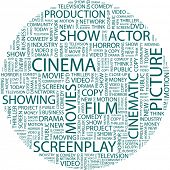 CINEMA. Illustration with different association terms in white background. Vector illustration.