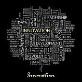 INNOVATION. Word collage on black background. Vector illustration.