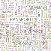 TRANSPORT. Seamless vector background. Illustration with different association terms.