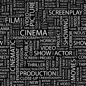 CINEMA. Seamless vector pattern with word cloud. Illustration with different association terms.