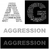 AGGRESSION. Word collage. Illustration with different association terms.