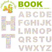 BOOK. Vector letter collection. Illustration with different association terms.