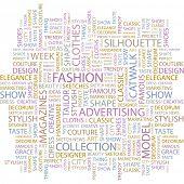 MODE. Wort-Collage auf weißem Hintergrund. Abbildung mit verschiedenen Verband Bedingungen.
