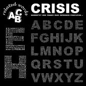 CRISIS. Vector letter collection. Illustration with different association terms.