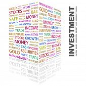 INVESTMENT. Word collage on white background. Illustration with different association terms.