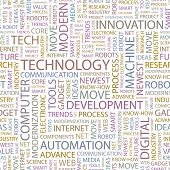 TECHNOLOGY. Seamless vector pattern with word cloud. Illustration with different association terms.