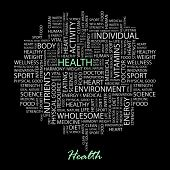 HEALTH. Word collage on black background. Vector illustration.