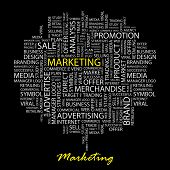 MARKETING. Word collage on black background. Vector illustration.