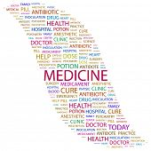 MEDICINE. Word collage on white background. Illustration with different association terms.