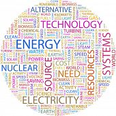 ENERGY. Word collage on white background. Illustration with different association terms.