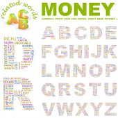 MONEY. Vector letter collection. Illustration with different association terms.