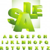 Green 3d alphabet. Vector set.