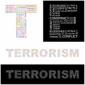 TERRORISM. Word collage. Illustration with different association terms.