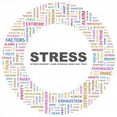 STRESS. Word collage on white background. Illustration with different association terms.