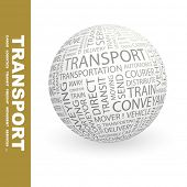 TRANSPORT. Globe with different association terms.