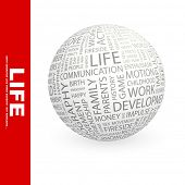 LIFE. Word collage on black background. Globe with different association terms.