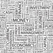 MONEY. Seamless vector pattern with word cloud. Illustration with different association terms.