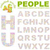 PEOPLE. Vector letter collection. Illustration with different association terms.