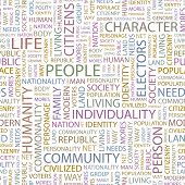 PEOPLE. Seamless vector pattern with word cloud. Illustration with different association terms.