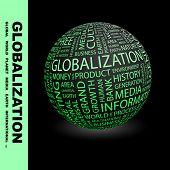 GLOBALIZACIÓN. Globo con términos diferentes de la asociación.