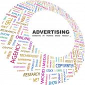 ADVERTISING. Word collage on white background. Illustration with different association terms.