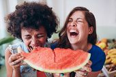 Постер, плакат: Two Young Girls Enjoying A Watermelon