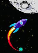 stock photo of reach the stars  - Retro Rocket Spaceship to the Moon  - JPG