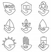 Постер, плакат: Set Of Lines Ecology Icons