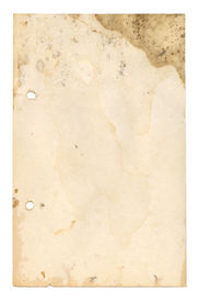 stock photo of recipe card  - an old recipe page suffering from wear and tear and water damage  - JPG