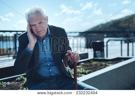 Chronic Headache Tired Old Man