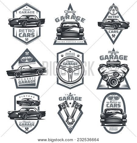 poster of Retro Vehicle Club Emblems Set With Classic Automobiles Steering Wheel Motor Engine Pistons In Vinta