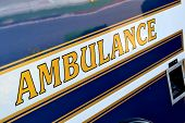 Ambulance signage on side of ambulance
