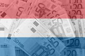 Flag Of Netherlandswith Transparent Euro Banknote S In Background