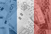 Flag Of France With Transparent Euro Banknotes In Background