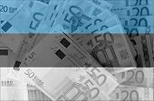 Flag Of Estonia With Transparent Euro Banknotes In Background