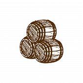 Vector Hand Sketched Wooden Barrels Illustration. Nautical Background. Beer Or Wine Symbol. poster