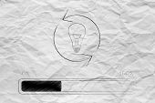 Change Of Mind In Progress Conceptual Illustration: Light Bulb With Arrows Spinning Over Progress Ba poster