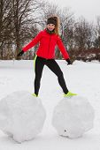 Outdoor Sport Exercises, Sporty Outfit Ideas. Woman Wearing Warm Sportswear Training Exercising Outs poster