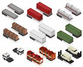 Different Types Trailers 3d Icons Set Isometric View Cargo Transport. Vector Illustration Of Trailer poster
