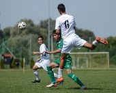 KAPOSVAR, HUNGARY - SEPTEMBER 5: Bence Kovacs (white 6) in action at the Hungarian National Champion