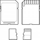 secure digital and micro SD flash memory card line art