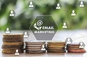 Email Marketing On The Touch Screen With A  Blur Financial Background .the Concept Email Marketing poster