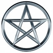 image of pentagram  - Isolated illustration of an ornate silver pentagram - JPG