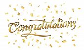 Congratulations. Abstract Pattern Of Random Gold Confetti With Calligraphy Lettering In Center. Brus poster