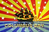 stock photo of christopher columbus  - Christopher Columbus Day Holiday celebration for USA exploration - JPG