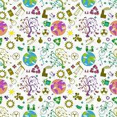 Vector Seamless Flat Pattern Illustration Of Tree On Earth, The Symbol Of World Ecology, The Problem poster