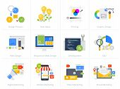 Set Of Flat Design Style Concept Icons Isolated On White. Vector Illustrations For Web Design And De poster