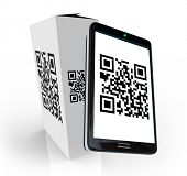 A modern smart phone scans the QR code on a product box to research information to decide whether to