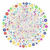 Psychedelic Cogwheel Sparked Globula. Vector Cluster Bang Created From Randomized Cogwheel Symbols.  poster